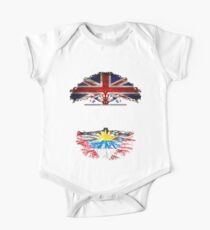 British Grown With Antiguan Barbudan Roots Gift For Antiguan Barbudan From Antigua Barbuda - Antigua Barbuda Flag in Roots Short Sleeve Baby One-Piece