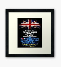 British Grown With Aruban Roots Gift For Aruban From Aruba - Aruba Flag in Roots Framed Print