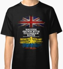 British Grown With Colombian Roots Gift For Colombian From Colombia - Colombia Flag in Roots Classic T-Shirt