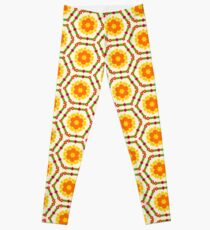 happy flat design friendship flowers yellow floral romantic seamless colorful repeat pattern Leggings