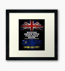 British Grown With Curaaoan Roots Gift For Curaaoan From Curacao - Curacao Flag in Roots Framed Print