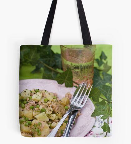 Peppery Potato and Tuna Salad With Cucumber, Peas and Mustard Dressing With Honey and Thyme Tote Bag