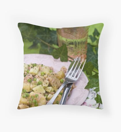Peppery Potato and Tuna Salad With Cucumber, Peas and Mustard Dressing With Honey and Thyme Throw Pillow