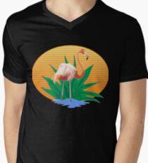 Süße lustige Flamingos Sommersonne & gute Stimmung Designs T-Shirt mit V-Ausschnitt