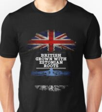 British Grown With Estonian Roots Gift For Estonian From Estonia - Estonia Flag in Roots Unisex T-Shirt