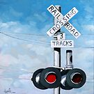 Railroad Crossing - original realistic urban oil painting by LindaAppleArt
