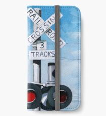 Railroad Crossing - original realistic urban oil painting iPhone Wallet/Case/Skin