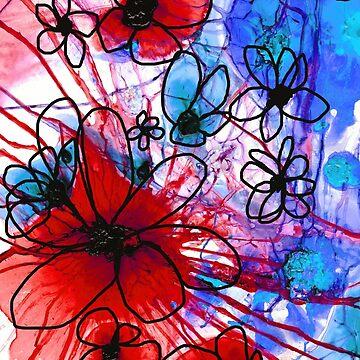 Bold Modern Floral Art - Wild Flowers 3 - Sharon Cummings Artist by SharonCummings