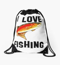 I Love Fishing Yellowstone Cutthroat Trout Rocky Mountains Fish Char Jackie Carpenter Gift Father Dad Husband Wife Best Seller Drawstring Bag