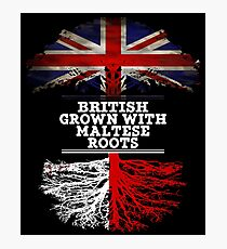 British Grown With Maltese Roots Gift For Maltese From Malta - Malta Flag in Roots Photographic Print