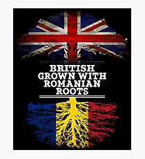 British Grown With Romanian Roots Gift For Romanian From Romania - Romania Flag in Roots Photographic Print