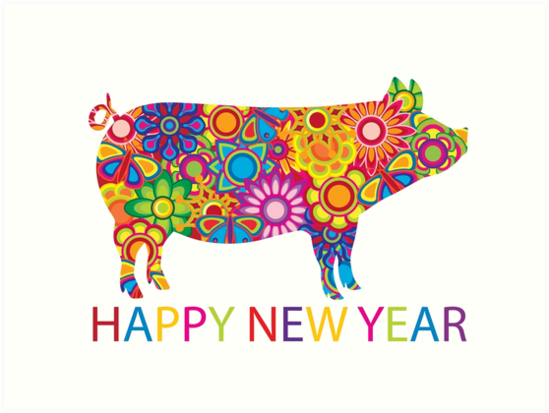 Chinese Lunar New Year 2019 Pig With Colorful Spring Flowers Floral