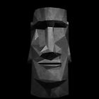 Moai Head in Low Poly Stone (Black Background Version) by Sonof-Deair