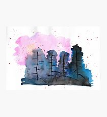 Hand Painted Watercolor Blue And Pink Forest Photographic Print