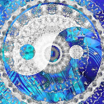 Blue And White Art - Yin and Yang Symbol - Sharon Cummings Artist by SharonCummings