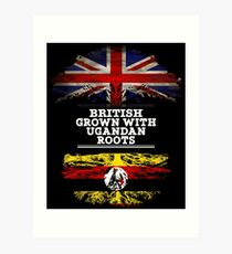 British Grown With Ugandan Roots Gift For Ugandan From Uganda - Uganda Flag in Roots Art Print