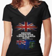 British Grown With Virgin Islander Roots Gift For Virgin Islander From British Virgin Islands - British Virgin Islands Flag in Roots Women's Fitted V-Neck T-Shirt