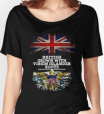 British Grown With Virgin Islander Roots Gift For Virgin Islander From Us Virgin Islands - Us Virgin Islands Flag in Roots Women's Relaxed Fit T-Shirt