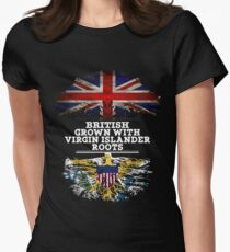 British Grown With Virgin Islander Roots Gift For Virgin Islander From Us Virgin Islands - Us Virgin Islands Flag in Roots Women's Fitted T-Shirt