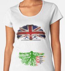 Briten gewachsen mit Sambian-Wurzel-Geschenk für Sambian von Sambia - Sambia-Flagge in den Wurzeln Premium Rundhals-Shirt