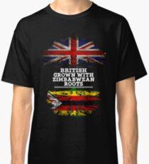 Briten gewachsen mit simbabwischem Wurzel-Geschenk für Simbabwe von Simbabwe - Simbabwe-Flagge in den Wurzeln Classic T-Shirt