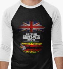Briten gewachsen mit simbabwischem Wurzel-Geschenk für Simbabwe von Simbabwe - Simbabwe-Flagge in den Wurzeln Baseballshirt für Männer