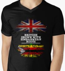 Briten gewachsen mit simbabwischem Wurzel-Geschenk für Simbabwe von Simbabwe - Simbabwe-Flagge in den Wurzeln T-Shirt mit V-Ausschnitt für Männer