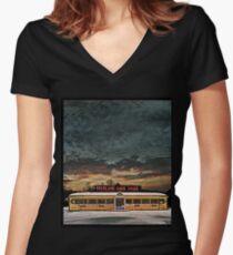 Vicksburg Mississippi Sky over the Highland Park Diner, Rochester Fitted V-Neck T-Shirt