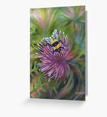 Acrylic painting, Bee on thistle nature art Greeting Card