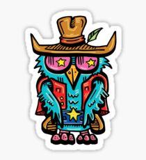 Cowboy Owl by The Bird Artist [Lowbrow Cartoon Bird / Street Art - American Western Sheriff] Sticker