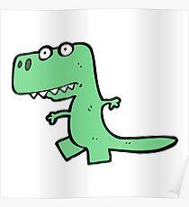 Cute Green Cartoon Dinosaur Kawaii Poster