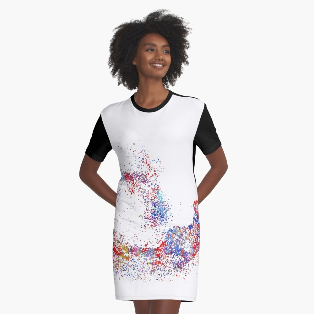 0f9c003a18a American football player, watercolor American football player Graphic T- Shirt Dress. Designed by Rosaliartbook