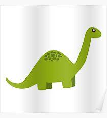 Cute Long Neck Green Dinosaur Poster