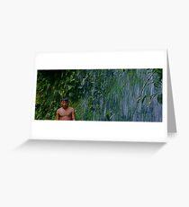 Waodani Boy against Waterfall Greeting Card