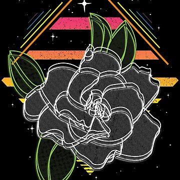 Retrowave Neon Gardenia Flower by wearbaer