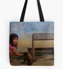Woadani Girl and Monkey Tote Bag
