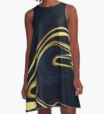 Gold Black Marble A-Line Dress