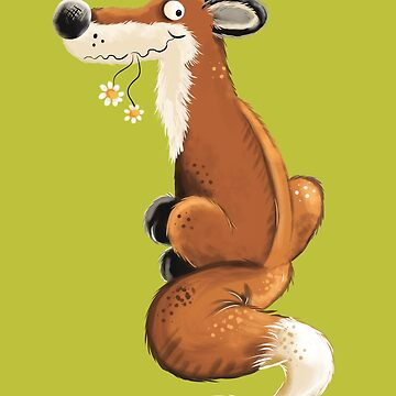 Red Fox With Flowers I Cartoon Art  by modartis