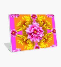 PINK DAHLIAS &  YELLOW SUNFLOWERS GARDEN ART Laptop Skin