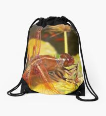 Posted up red dragonfly  Drawstring Bag