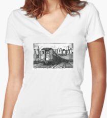 New York Subway Train Women's Fitted V-Neck T-Shirt