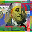 Fragment of a Colorized One Hundred U.S. Dollar Bill - $100 USD Pop Art by Serge Averbukh