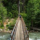 Hikers crossing a wooden foot bridge over a mountain river by Adam Nixon