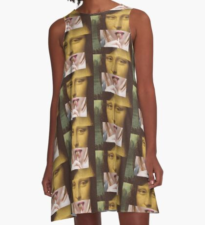 Mona Lisa Lollipop Selfie Pop Culture Print A-Line Dress