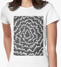 Foral waves in black and white Women's Fitted T-Shirt