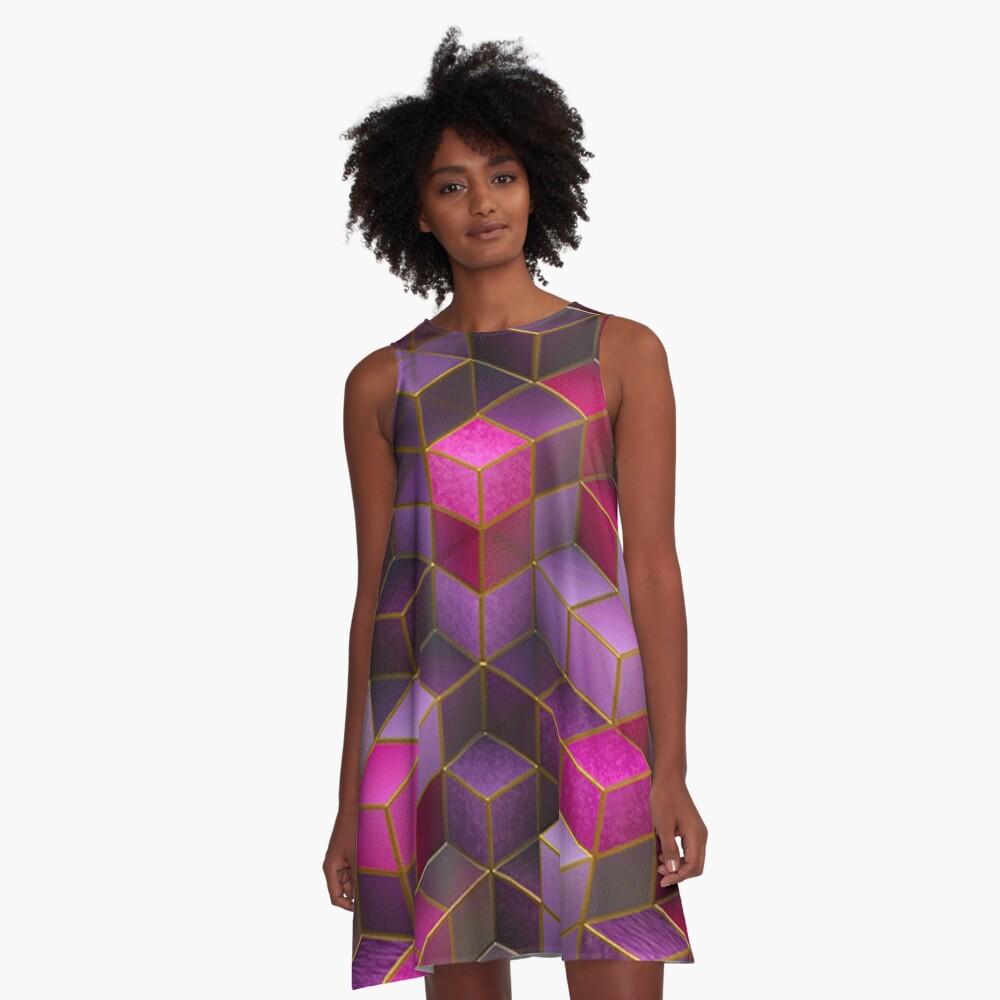 Geometric Cube Square Cyberpunk Punk Rave Wear A-Line Dress