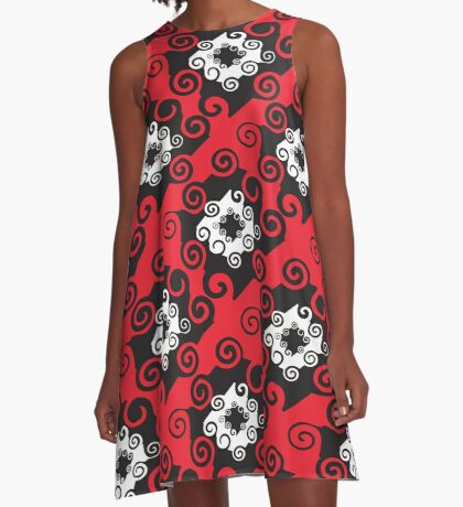 Black Red Damask Style Pattern Design Floral Fabric A-Line Dress