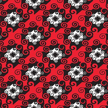 Black Red Damask Style Pattern Design Floral Fabric by thespottydogg