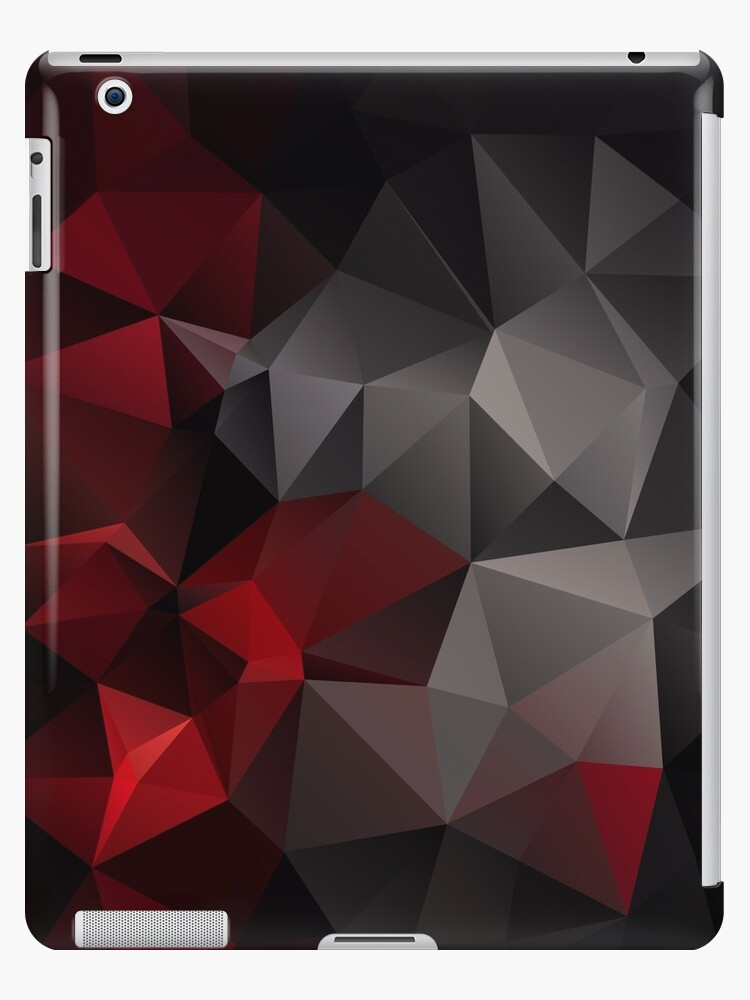 Abstract Background Of Triangles Polygon Wallpaper In Black Red