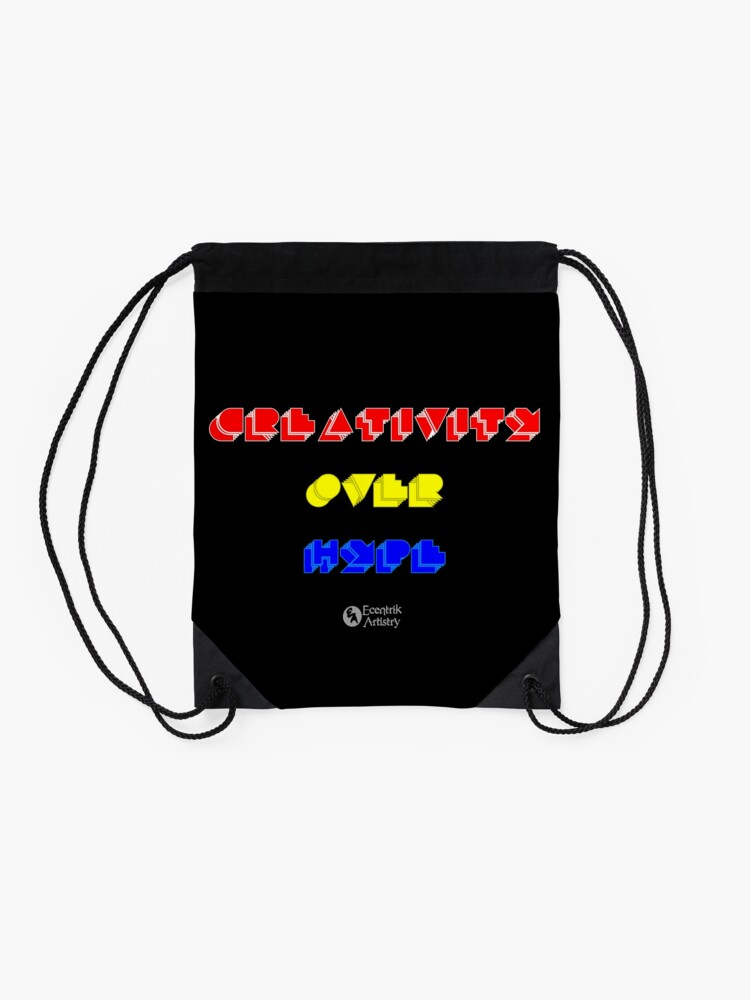 Alternate view of Creativity Over Hype (80s Version) Drawstring Bag